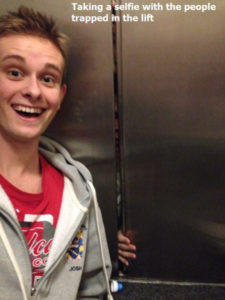 British chap took a selfie while stuck in an elevator.