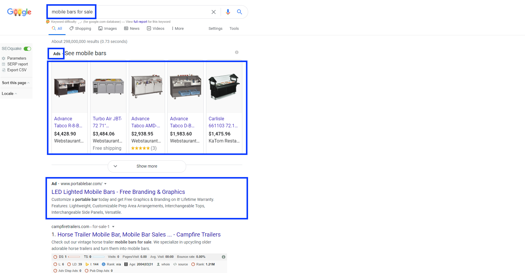 Here is a screenshot of paid search ads and product ads on the Google Ad Network.